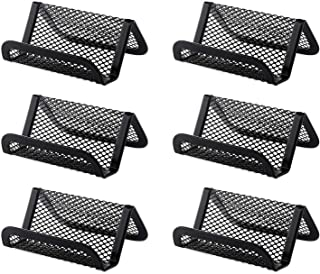 JIAKAI 6 Pack Black Metal Mesh Business Card Holder Desk Business Card Organizer for Desk Office Name Card with 50 Name Ca...