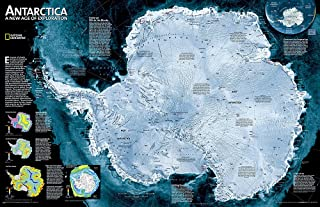National Geographic: Antarctica Satellite Wall Map - Laminated (31.25 x 20.25 inches) (National Geographic Reference Map)