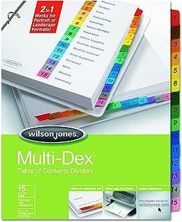Wilson Jones Multidex Index Assorted Color 15-Tab, 1-15, 8.5 x 11 Inches, 15 per Set (91503)