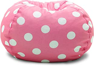 Big Joe , Candy Pink Polka Dot Classic Bean Bag Chair, White