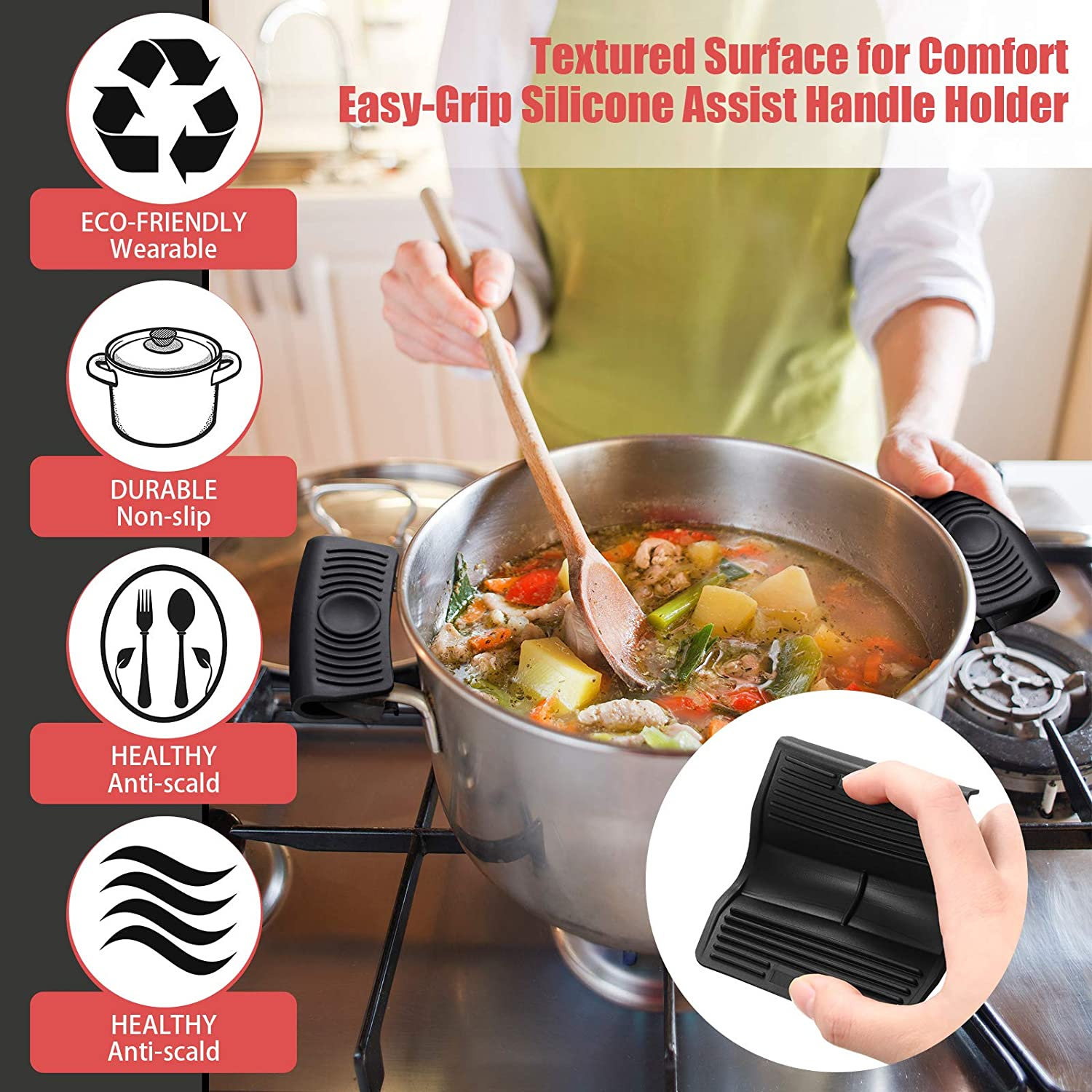 High Temperature Resistant 6 Pieces Silicone Handle Holder Silicone Hot Handle Holder Pot Handle Mitts Potholders Silicone Rubber Handle Covers Heat Insulated Cookware for Cast Iron Pans Black
