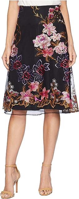 Embroidered Flare Midi Skirt