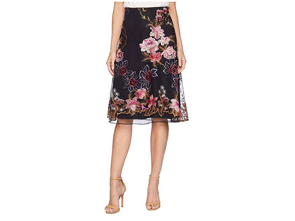 eci Embroidered Flare Midi Skirt (Black/Pink) Women