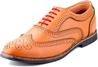 Zebra Men's Extra Strong and Double Coated Genuine Leather Brogue Shoes