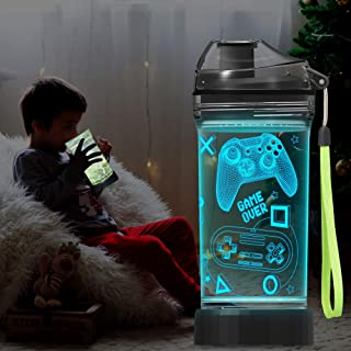 Lightzz Kids Water Bottle with 3D Glowing Game Console LED Light - Tritan BPA Free - Travel Cup Gift for Back to School Gi...