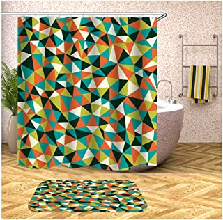 Epinki Polyester 2PCS Shower Curtain Set Colorful Triangle Pattern Shower Curtain Bath Mat for Bathroom with 12 Hooks 90x1...