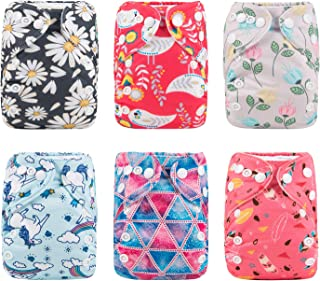 Alva Baby Pocket Newborn for Less Than 12pounds Baby Snaps Cloth Diapers Nappy 6pcs + 12 Inserts 6SVB09