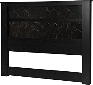 South Shore Gloria Headboard with Lights, King 78-Inch, Black Oak and Black Marble