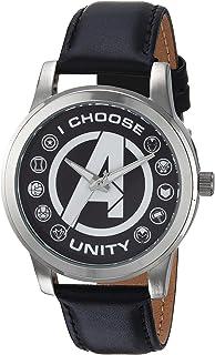 ساعة رجالي كلاسيكية انالوج كوارتز بحزام جلدي من مارفل، لون أسود، 18 موديل (WMA000055)