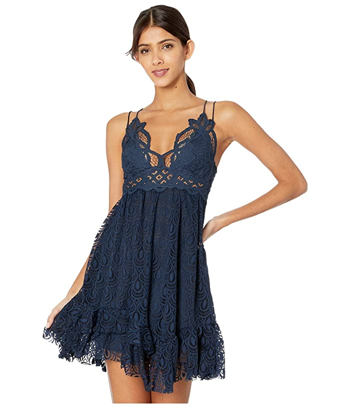 Free People  Adella Burnout Velvet Slip (Navy) Womens Clothing