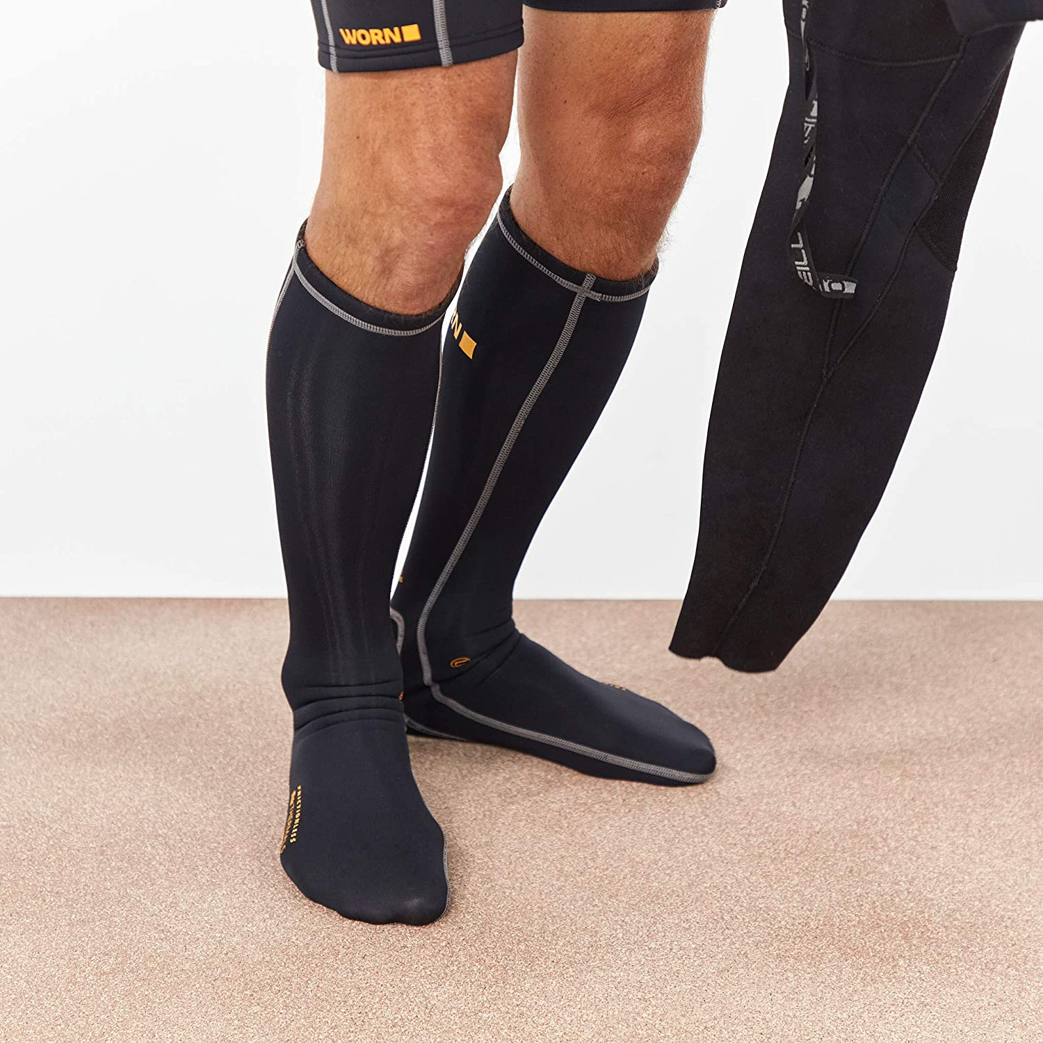 WORN Frictionless Thermal Wetsuit /& Boot Socks 1.5MM Insulation Channel Lined
