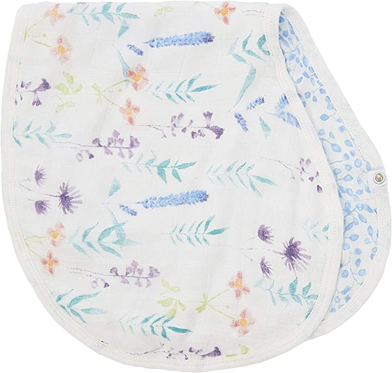 Aden Anais Silky Soft Burpy Bib White Label Single Watercolor Garden