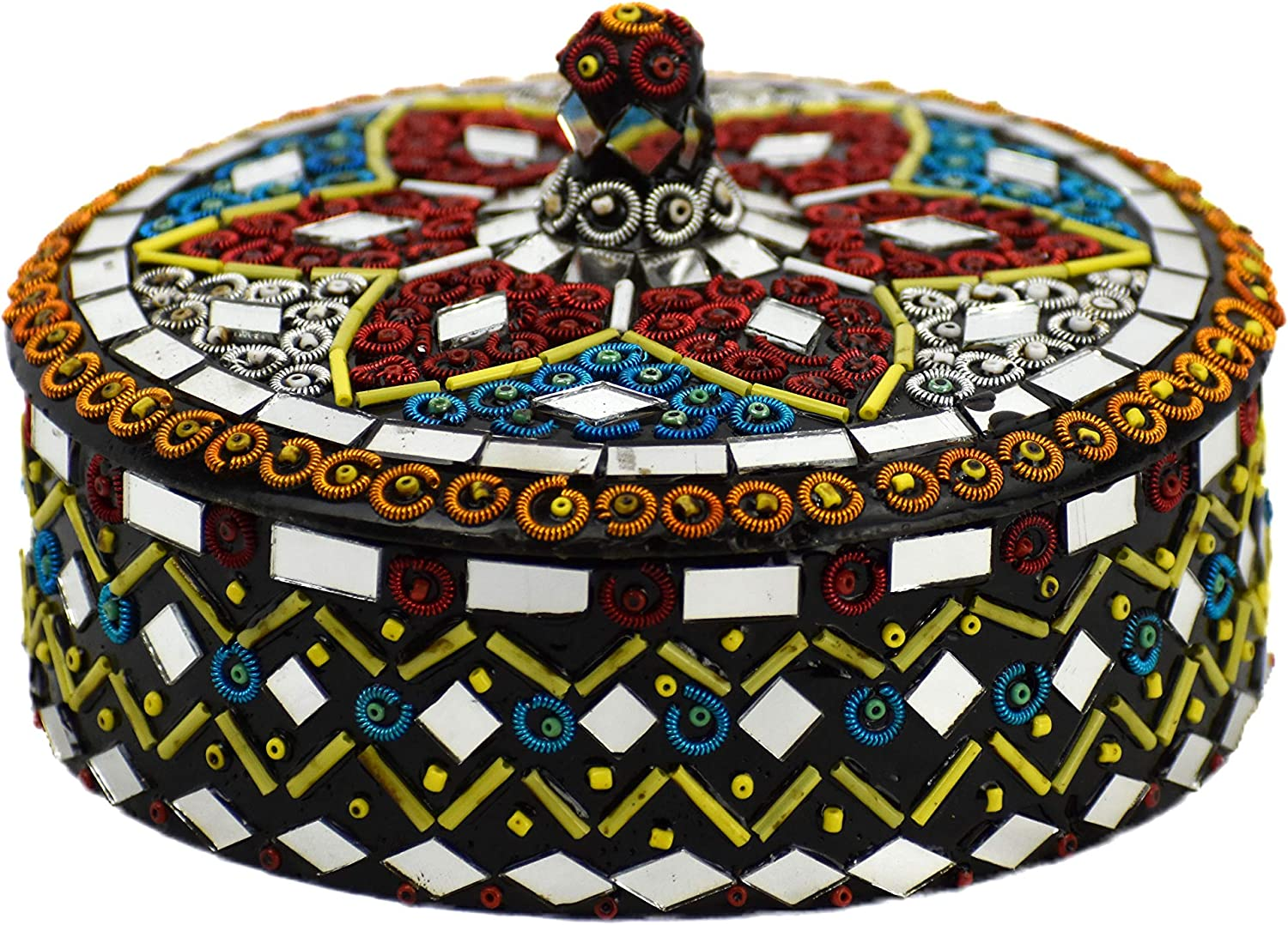 Shisha Moti Craft Decorative Gifts Bowl with Beads Lid Mirror Wor Max 58% OFF and