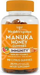 Wedderspoon Manuka Honey Immunity Gummies, Vitamin C & Zinc Support, 90 Chewables, Tangy Citrus