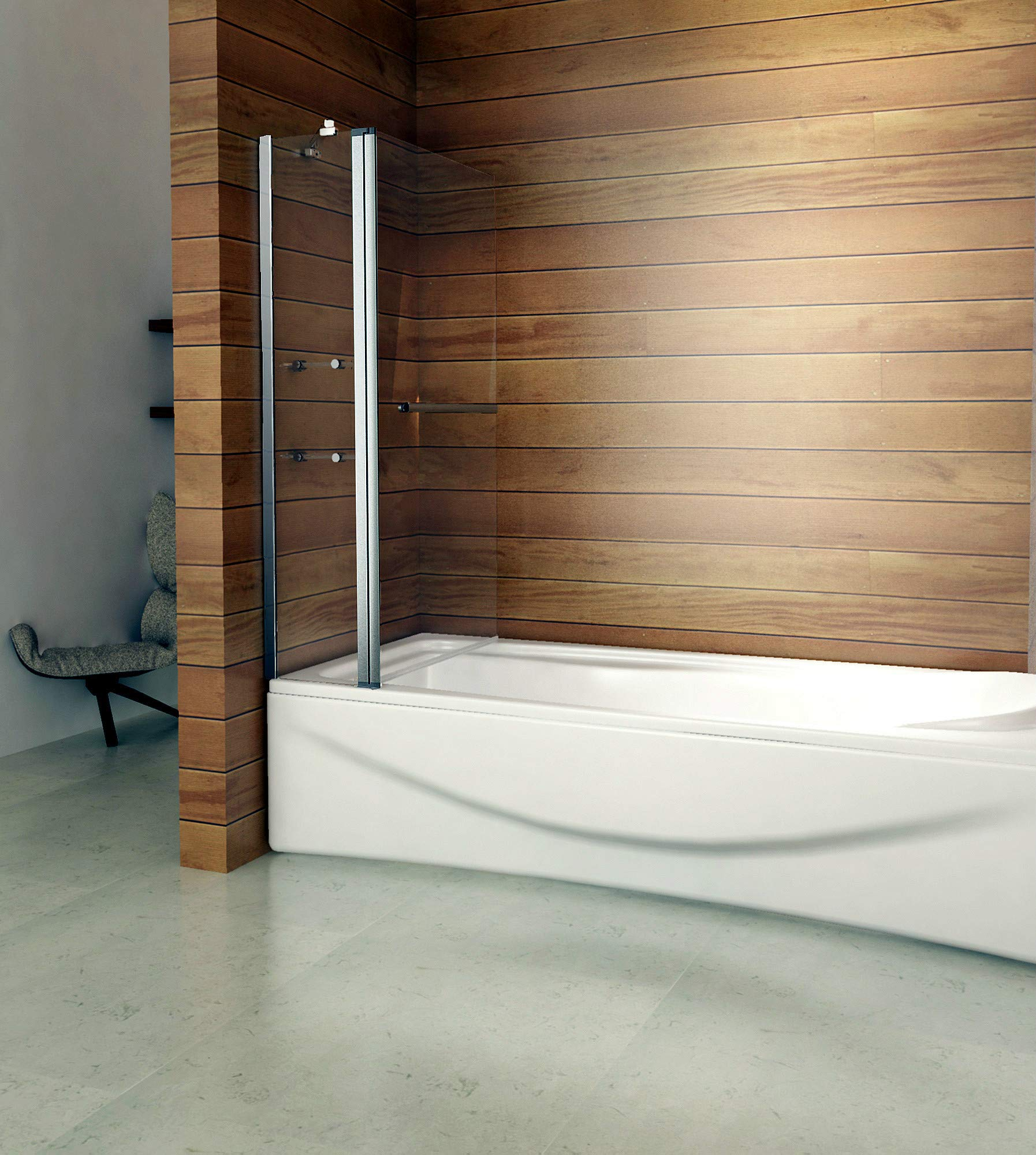 140 x 120 cm Mampara de bañera plegable pared ducha de pared para ...