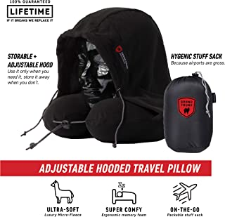 Hooded Travel Pillow: 360 Neck and Head Support, High-Grade Memory Foam, Adjustable Light-Blocking Hood, Carry Bag Included - Perfect for Car or Airplane Sleeping