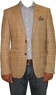 Marc Darcy Mens Designer Oak Brown Tweed Herringbone Vintage Coat Jacket Checked Tan Blazer