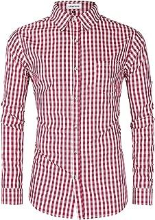 Clearlove Men's German Bavarian Oktoberfest Dress Shirt Button Down Checkered Shirt