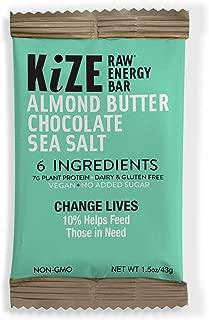 KiZE – (10 Pack) Raw Energy Bars – Vegan Almond Butter Chocolate Sea Salt – Non GMO, Gluten Free, No Added Sugar, Bulletproof