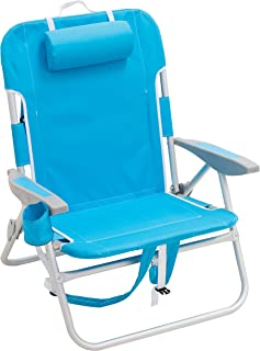 "RIO beach Big Boy 4-Position 13"" High Seat Backpack Beach or Camping Folding Chair, Turquoise"