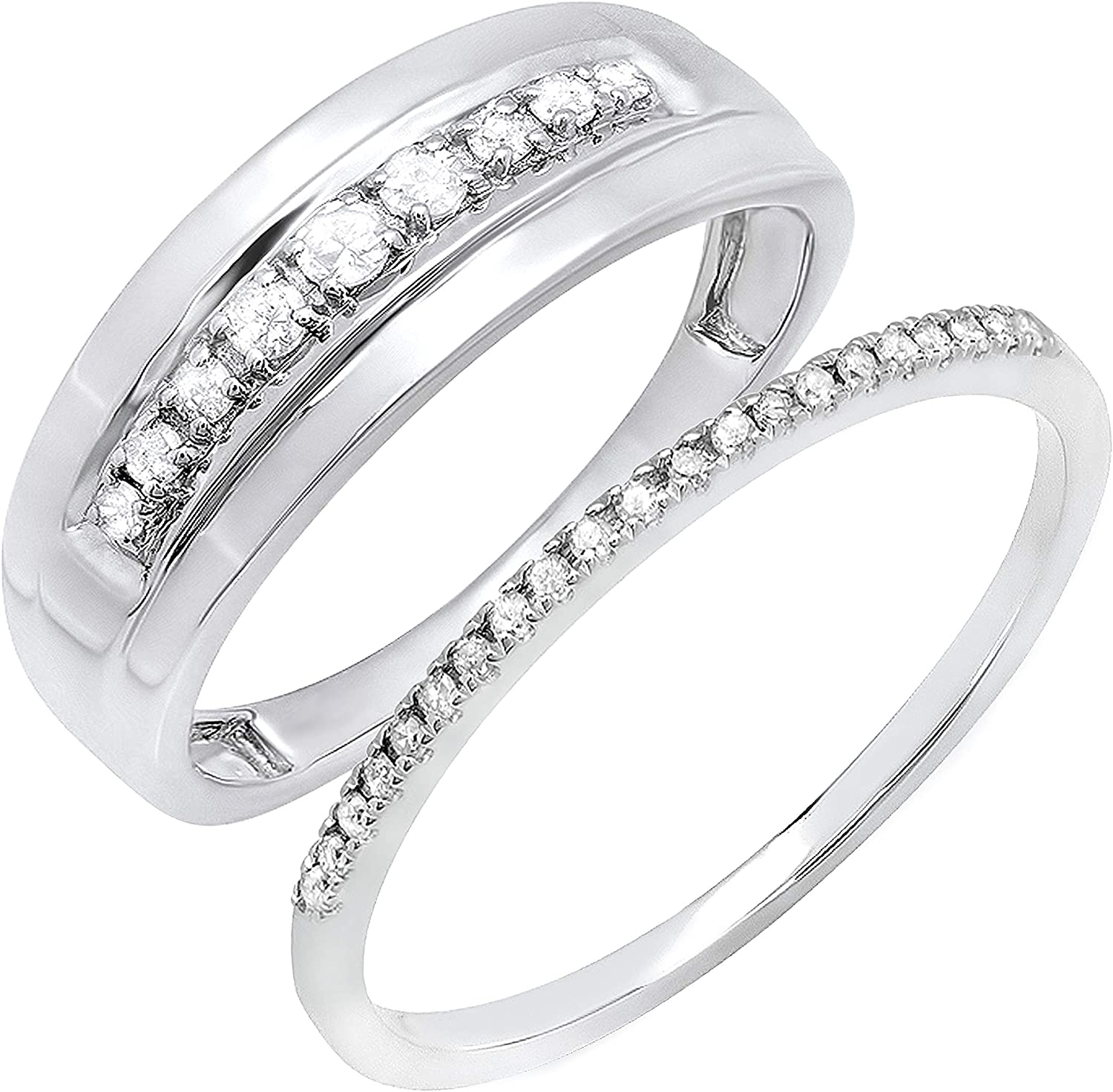 Dazzlingrock Collection 0.31 Carat (ctw) Round White Diamond Couple Rings for His & Her Promise Wedding Band Set 1/3 CT, 10K White Gold