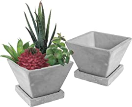 MyGift Modern 4-Inch Cement-Gray Tapered Square Succulent Planter Pots with Removable Drip Tray, Set of 2
