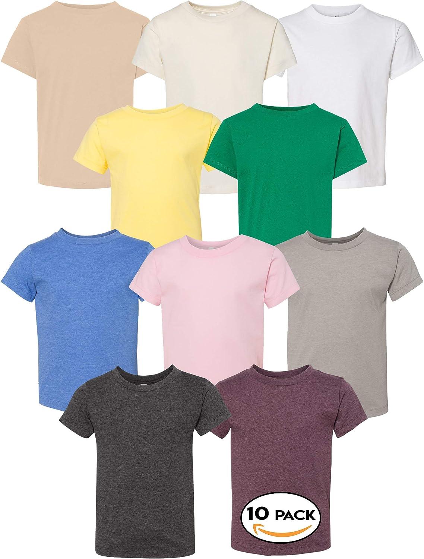 Bella Canvas Multipack Bundle Toddler Bulk T-Shirt 3 | 6 | 10 Pack - Cotton Jersey Tee for Kids