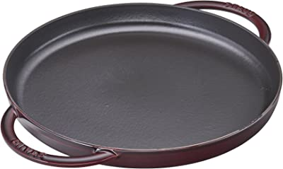 Staub Cast Iron 12-inch Round Double Handle Pure Griddle - Grenadine