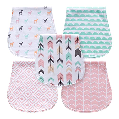 440402bc8 5-Pack Baby Burp Cloths for Girls, Triple Layer, 100% Organic Cotton