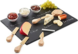 VonShef 9 Piece Slate Cheese Board Server Plate Tray and Dipping Set with Brushed Gold 4 Piece Stainless Steel Cheese Knife Serving Utensil Set, Ceramic Dipping Bowls, Chalk and Gift Box