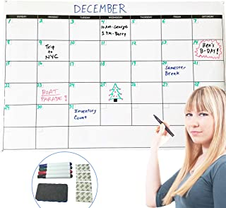 """$24 » Large Dry Erase Monthly Wall Calendar 24"""" x 36"""" Inches, Undated & Reusable Whiteboard for Home, Office, Classroom, Includes 4 Color Markers & Eraser"""