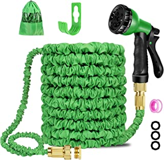 Expandable Garden Hose Pipe 100ft, Water Hose with 8 Function Nozzle and Flexible Hose Pipe with Solid Brass Fittings, Bes...