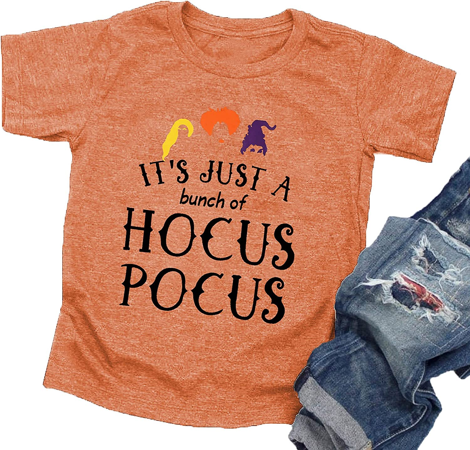 LAZYCHILD It's Just A Bunch of Hocus Pocus Halloween T Shirt Toddler Boys Girls Sanderson Sister Graphic Tee Shirts