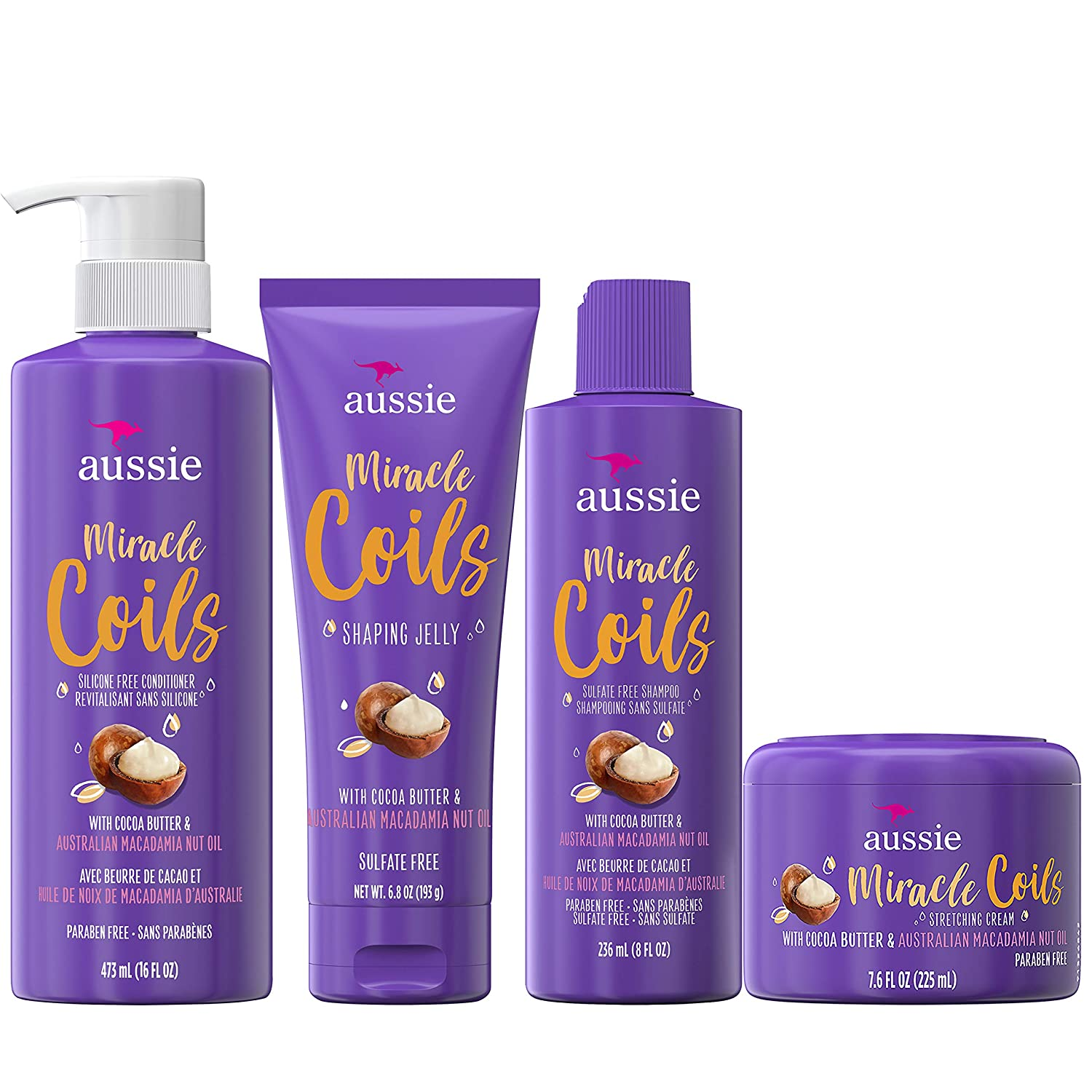 Aussie Miracle Coils Collection, Shampoo, Conditioner, Shaping Jelly &  Stretching Cream, For Curly Hair, Made with Australian Macadamia Nut Oil,  ...