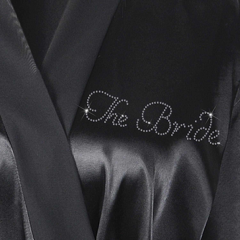 CrystalsRus Elfenbein Varsany Hochzeitstag Strass Satin Die Braut Bademantel individueller Flitterwochen Morgenmantel schwarz
