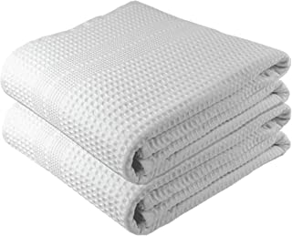 Gilden Tree Premium Large 2 Pc Bath Sheet 100% Natural Cotton Waffle Weave – Generous Size Lightweight Ultra Absorbent Quick Drying Fade Resistant (White)