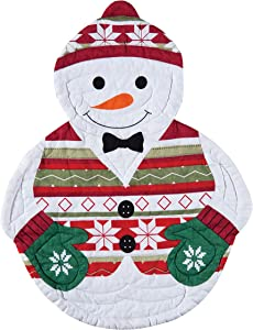 C&F Home Snowman Christmas Xmas Child Youth Shaped Cotton Reversible Machine Washable Placemat Set of 4 Rectangular Placemat White