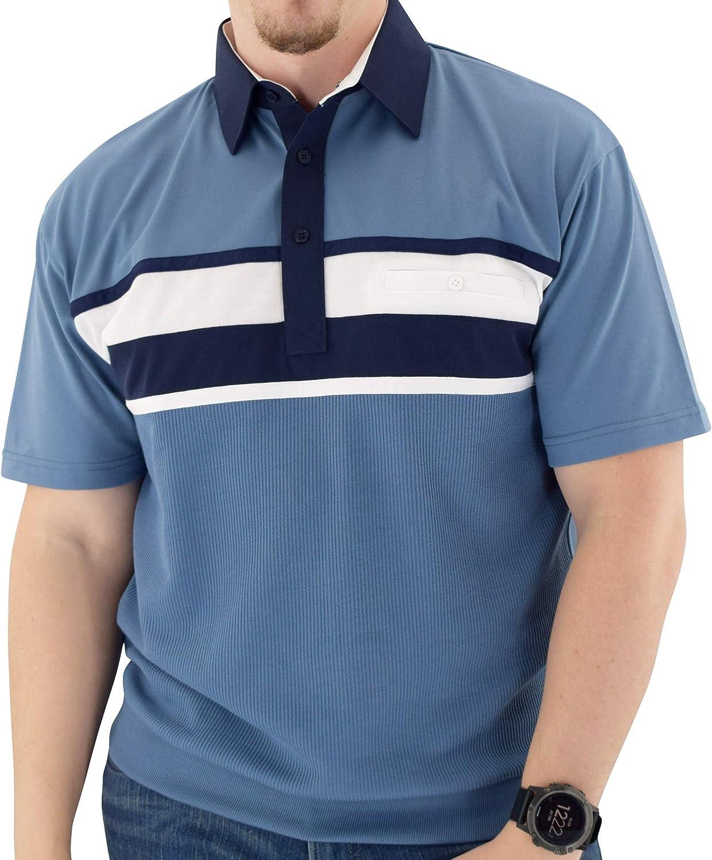 Classics by Palmland Horizontal Short Sleeve Banded Bottom Shirt 6010-BL12