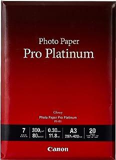 Canon PT-101 Pro Platinum - Papel Fotográfico (A3 20 Hojas 297 x 420 mm. 300 g/m²) Brillante