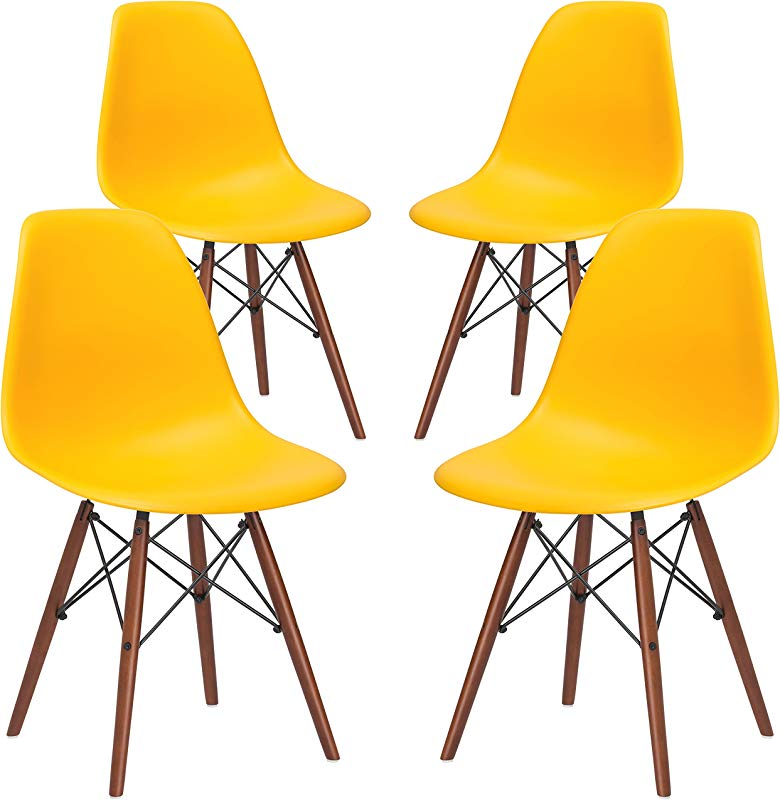 Poly And Bark Vortex Modern Mid Century Side Chair With Wooden Walnut Legs For Kitchen Living Room And Dining Room Yellow Set Of 4