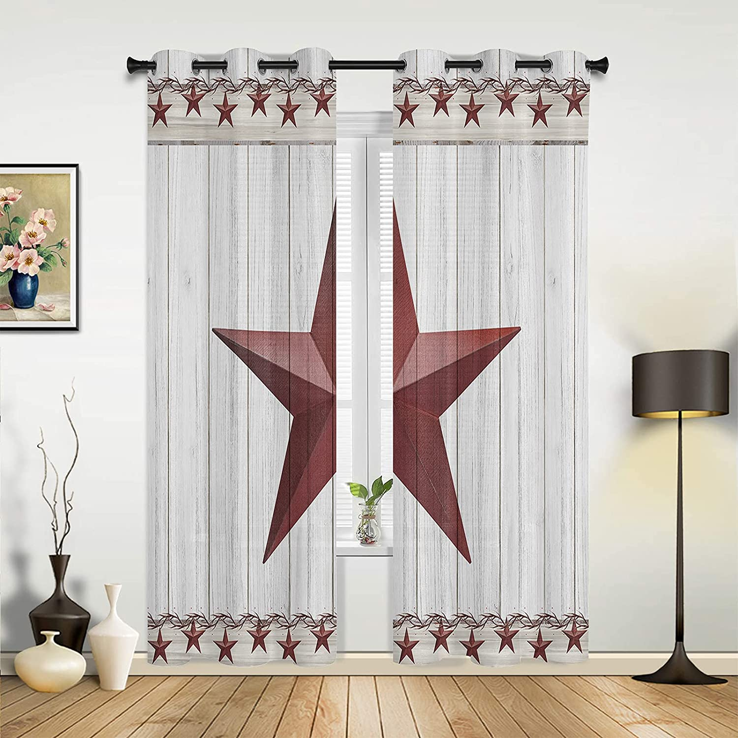 Window Max 66% OFF 5% OFF Sheer Curtains for Bedroom Living Texas Star Room Retro R