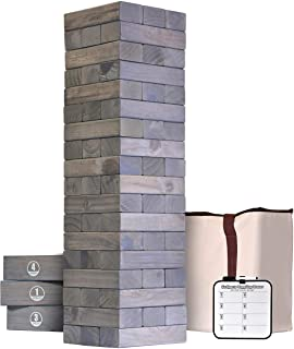 GoSports Giant Wooden Toppling Tower (Stacks to 5+ Feet) - Choose Between Natural, Brown Stain, Gray Stain or Stars and St...