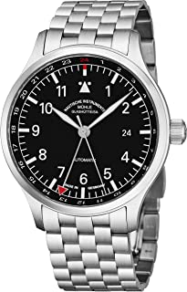 Muhle Glashutte Terrasport IV GMT Mens Automatic Pilot Watch - 42mm Black Face with Luminous Hands and Sapphire Crystal - Stainless Steel Bracelet Precision Watch Made in Germany M1-37-94 MB