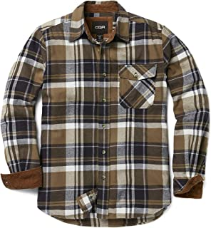 Men's Flannel Long Sleeved Button-Up Plaid All-Cotton Brushed Shirt