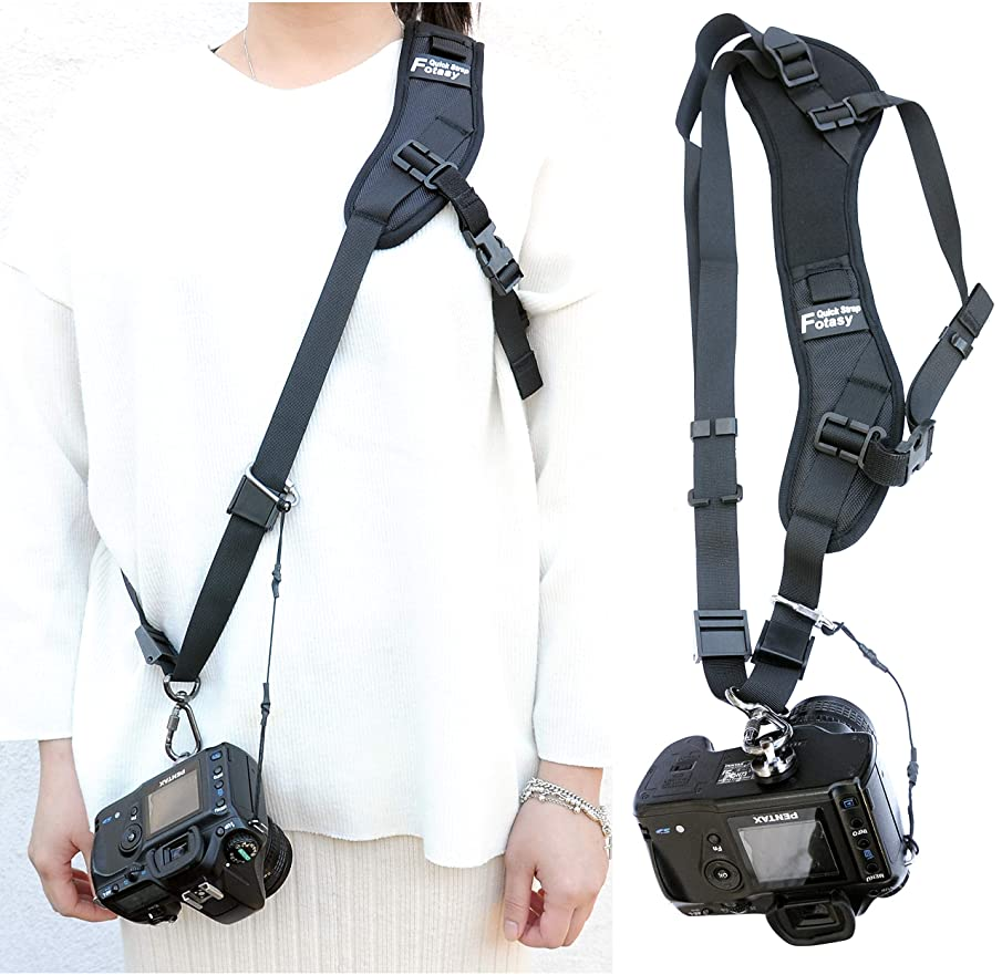 Camera Sling Strap, Ergonomic Design, Adjustable Camera Neck Strap, w/Quick Release and Safety Tether, Compatible with Canon, Nikon, Sony, Pentax, Panasonic, Olympus, Fujifilm Digital Camera