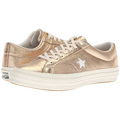 Converse One Star Heavy Metallic Leather Ox (Gold/Egret/Egret) Shoes