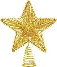 Aoriher 10 Inch Star Christmas Tree Toppers 3D Hallow Wire Star Christmas Treetop Decor for Xmas Tree Ornament Holiday Sea...