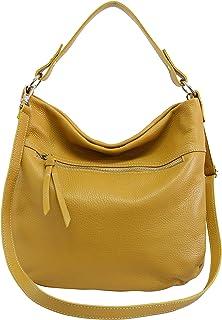 AmbraModa, bolso de cuero genuino para mujer, bolso de mano, bolso de hombro, Bolsos bandolera GL031