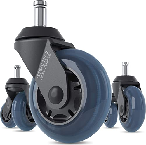 STEALTHO Replacement Office Chair Caster Wheels Set of 5 - Protect Your Floor - Quick & Quiet Rolling Over The Cables...