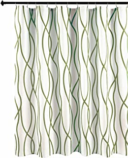Biscaynebay Textured Fabric Shower Curtain, Printed Dancing Bathroom Curtains, Sage 72 Inches by 72 Inches